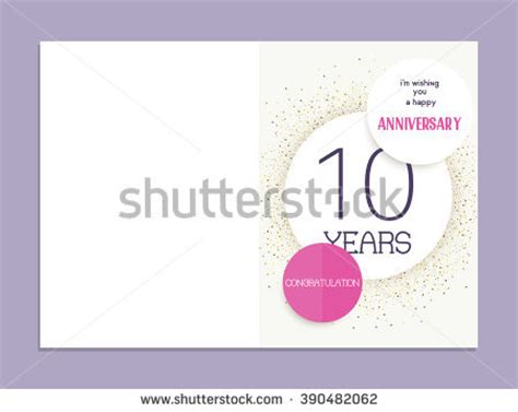 10th birthday card template 60th anniversary decorated greeting card template stock
