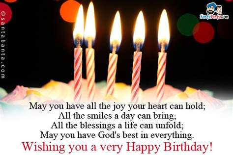 Happy Birthday May God Fulfill All Your Wishes Birthday Sms Page 4