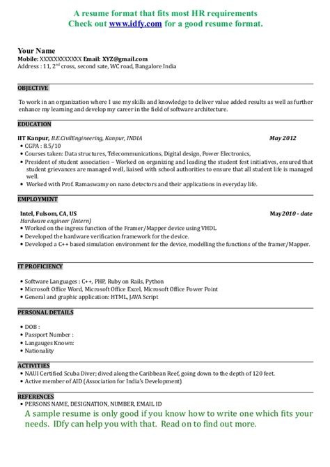 professional resume format for mca freshers pdf resume template pdf mca resume template for fresher