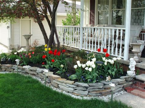 flower beds in front of house spring flower bed gardening pinterest stone walls