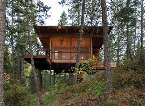 hillside cabin plans this hillside cabin sits among the pine trees in montana contemporist