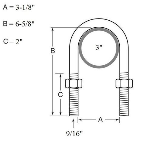Drawing U Bolt by U Bolt Kit For Mounting 2 Quot Springs On A 5 200 Lb 7 000