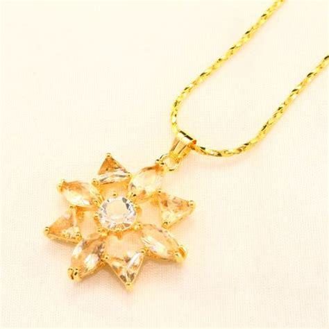 Citrine Premium citrine yellow and clear premium aaa cz flower gold plated