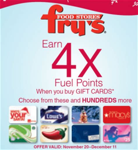 Frys Gift Cards - fry s earn 4x fuel points with gift card purchases bargain believer