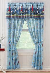 Nautical Valance Nautical Seaside Bar Harbor Lighthouse Boat Window Curtain
