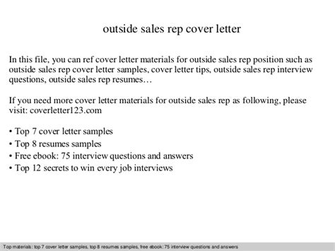 Cover Letter Exles Outside Sales Representative Outside Sales Rep Cover Letter