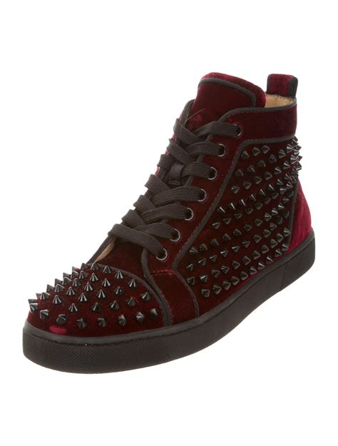 christian louboutin spiked velvet sneakers shoes cht73943 the realreal