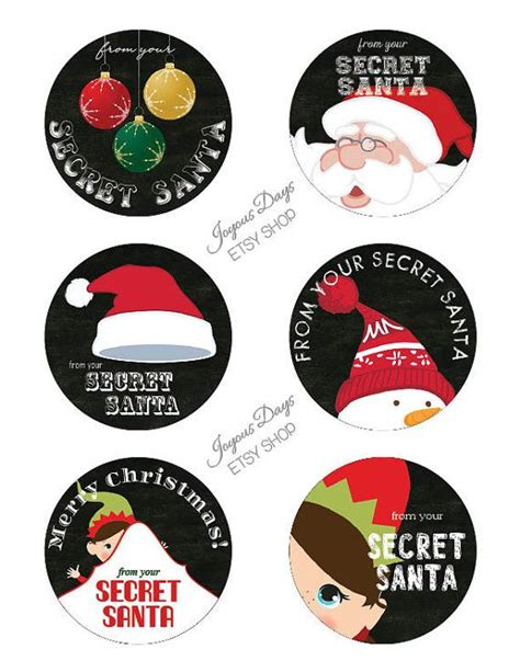 secret santa label template secret santa gift tags labels set of 6 3 inch by