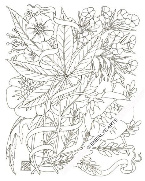 free coloring pages of weed leaf