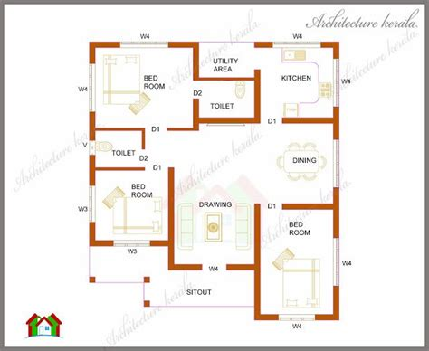 3 Feet Plan Architecture Kerala Three Bedrooms In 1200 Square Feet
