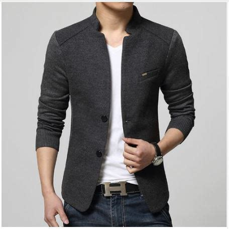 Blazer Pria Modern Blazer Casual Blazer Silver Blazer Murah Korean 2016 mens new blazer grey slim fit suits jacket stand collar slim fit cotton outwear
