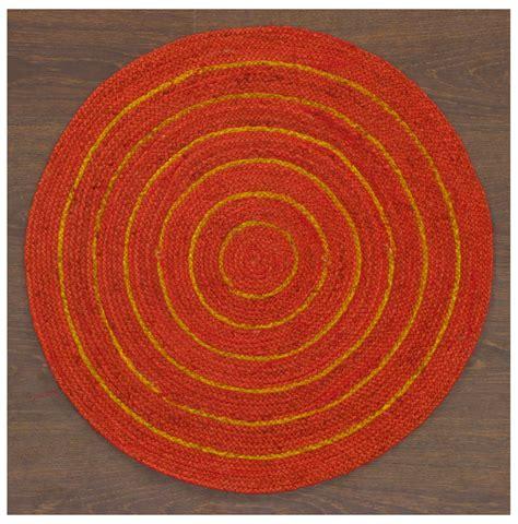 Circular Rugs Southwestern Braided Wool Jute Handmade Yellow