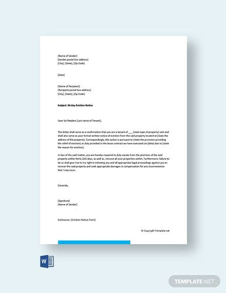 eviction letter family member template word