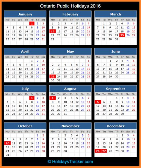 printable calendar 2016 ontario ontario canada public holidays 2016 holidays tracker