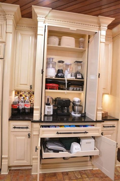 appliance cabinets kitchens these kitchen gadget storage solutions considering