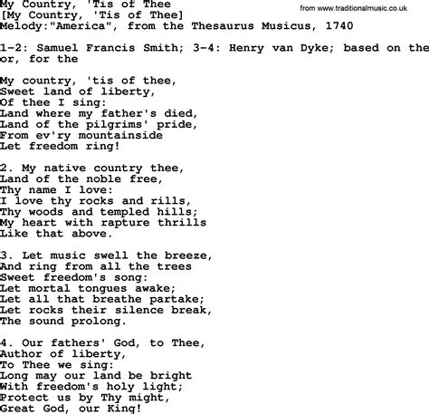 lyrics pdf american song lyrics for my country tis of thee