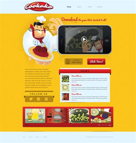 design game web iphone game website template free website templates