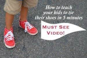 ties shoes and kid on
