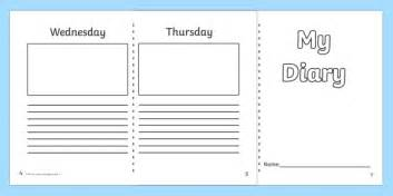 diary template ks1 7 day diary writing frame diary