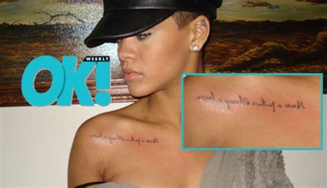 tattoo quotes rihanna cele bitchy rihanna has a new dumb tattoo she s got a