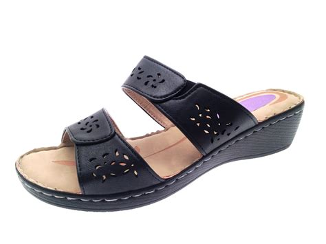 wedge comfort shoes womens low wedge comfort sandals strappy mules ladies