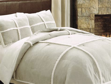 fleece comforter taupe sherpa fleece microsuede comforter set