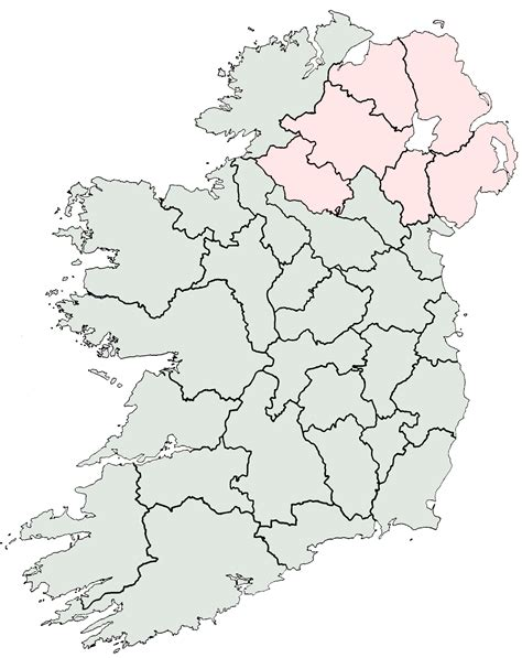 County Map Of Ireland Outline by Outline Map Of Ireland With Counties