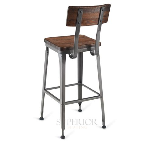 bar stools for restaurant industrial wood back steel restaurant bar stool with solid