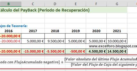 ejemplo del calculo del istp 2016 c 225 lculo del payback o del periodo de recuperaci 243 n en excel