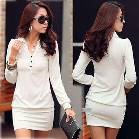 korea womens button v neck sleeve slim fitted mini dress black white cotton ebay