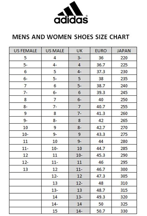 size chart adidas shoes vip plaza