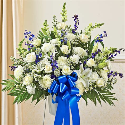 Blue And White Sympathy Floor Basket by Blue White Sympathy Standing Basket Flowers