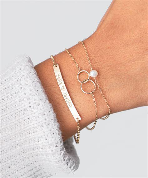 Gold Bar Bracelet, Engraved Bracelet, Bridesmaid Gift, Initial Personalized Bracelet, Nameplate