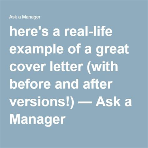 Ask A Manager Cover Letter by 25 Best Ideas About Great Cover Letters On Resume Ideas Cover Letter Tips And