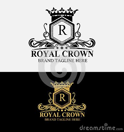 heraldic royal crest crown logo stock vector image 65222253