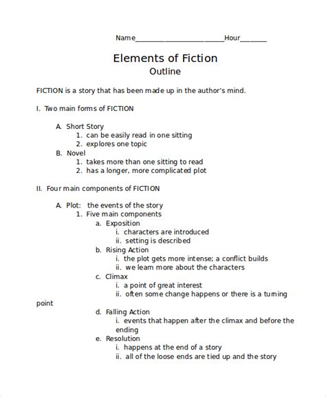 novel outline templates story outline template 6 free word pdf document