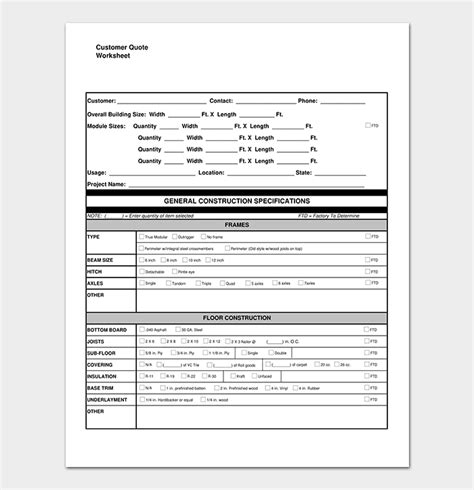 construction quotation template word excel