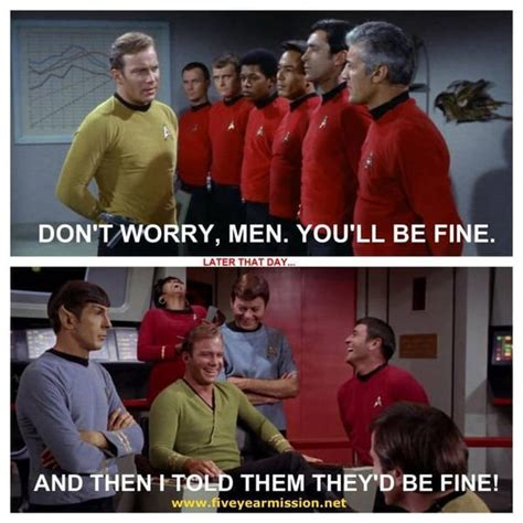 Redshirt Meme - when red shirts from star trek are referenced in pop