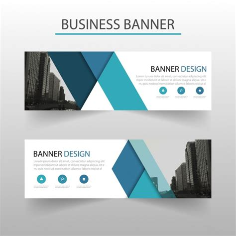 banner design editor modern banner with blue geometric shapes vector free