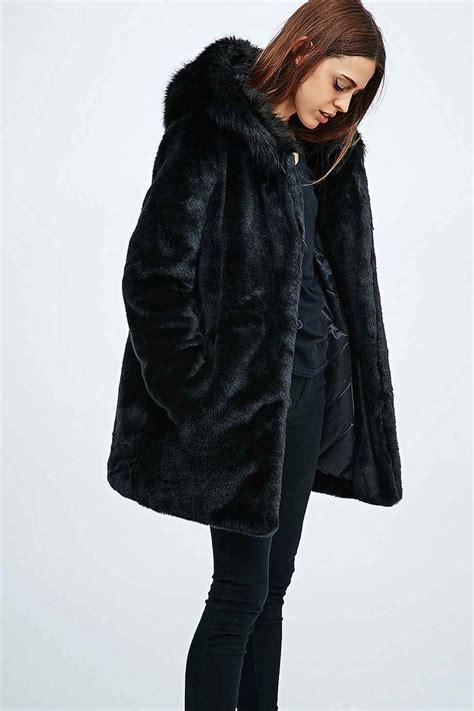 Faux Fur Hooded Coat parka elsa faux fur hooded coat in black