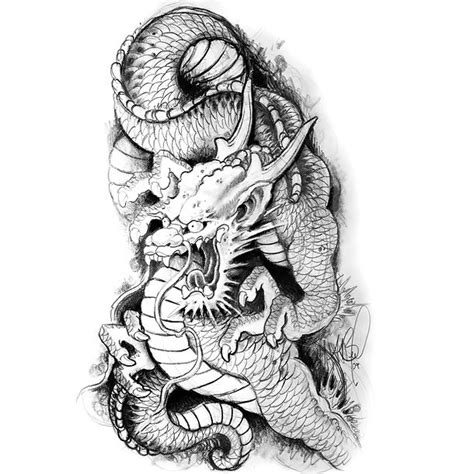 black and gray japanese dragon tattoo design
