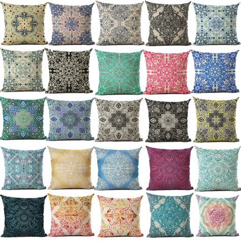 Printed Throw Pillows by Cushion Cover Geomtric Pillowcase Bohemian Style Cotton