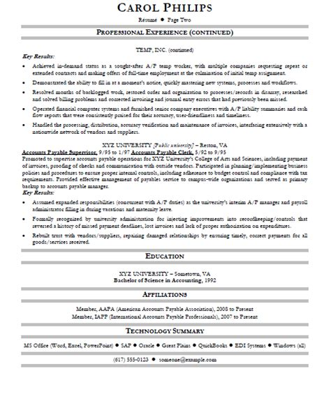 Accounts Payable Resume by Free Resume Sles And Business Cards Templates Accounts Payable Specialist Resume