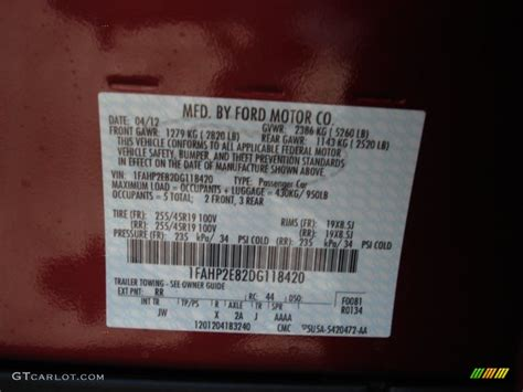 2013 taurus color code rr for ruby metallic photo 64548033 gtcarlot