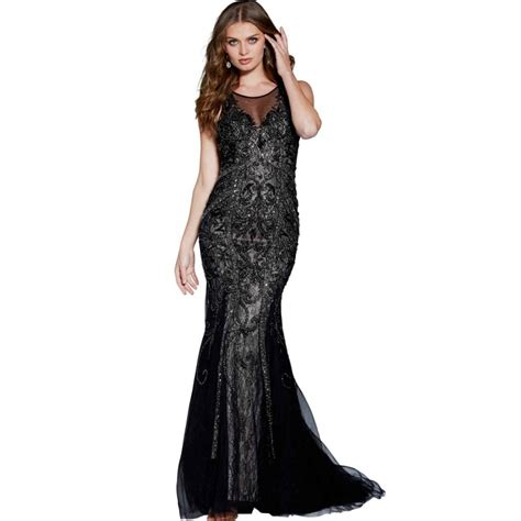 Owl Dress Sparkle Shine jovani 57995 sweep sparkle shine black beading lace sleeveless keyhole back fit flare