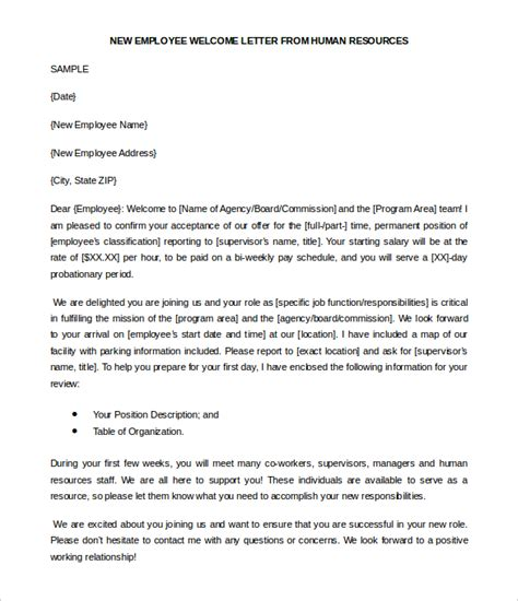 welcome letter for new employee docoments ojazlink