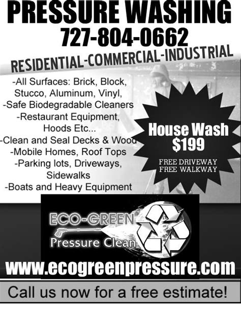 Pressure Washing Flyers Ecogreenpressure Flyer 1 From Eco Green Roof Clean Pressure Washing Power Washing Flyer Templates Free