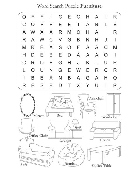words for couch preschool word search puzzle furniture download free
