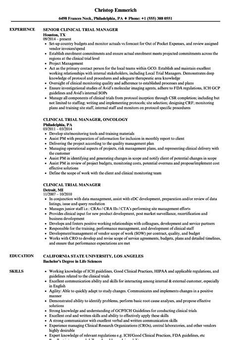 clinical trial manager resume sles velvet