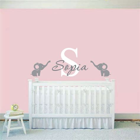 wall stickers for baby nursery custom made baby name wall sticker elephants wall